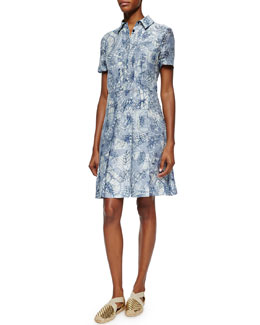 Short-Sleeve Textured Jacquard Shirtdress
