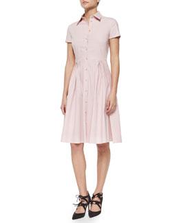 Short-Sleeve Full Skirt Shirtdress