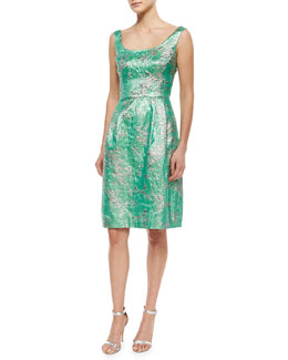 Sleeveless Scoop-Neck Brocade Cocktail Dress