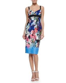 Floral Ombre Sheath Dress, Blue/Multicolor