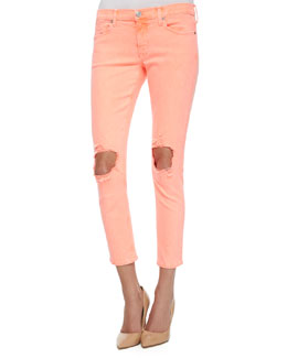 Finn Distressed Cropped Ankle Jeans, Vivid Orange