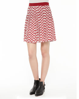 Slipper-Print Silk Pleated Skirt