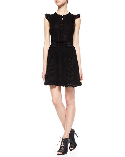 Cap-Sleeve Godet Dress
