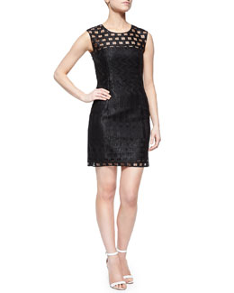 Sleeveless Illusion Filament Sheath Dress, Black