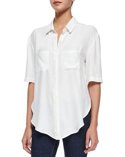 Le Elbow Button Shirt, Blanc