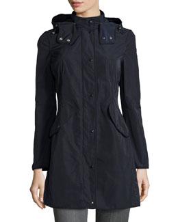 Argelia Hooded Coat, Navy