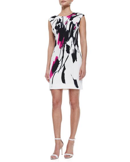 Tokyo Floral-Print Sheath Dress, Fuchsia/White