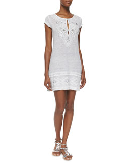 Zedna Embroidered Tunic Dress, Gray/White