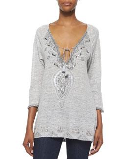 Novaline Embroidered Slub-Jersey Tunic, Heather Gray