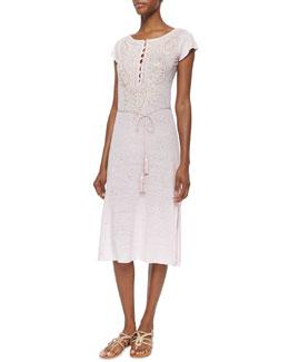 Dimitra Paisley Slub-Jersey Dress, Ruby Dust
