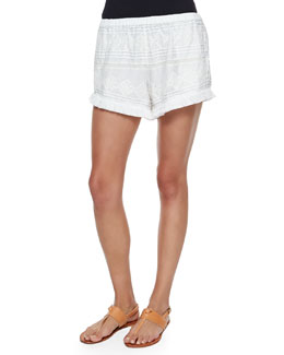 Migi Embroidered Cotton Shorts, White