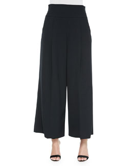 Italian Cady Stretch Wide-Leg Pants