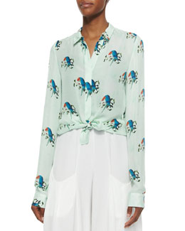 Willa Mini-Collar Button-Down Shirt