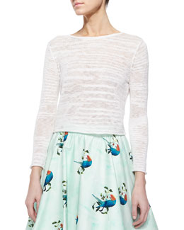 Fallon Cropped Slub Sweater, Cream