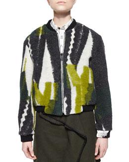 Collage-Print Fuzzy Knit Jacket
