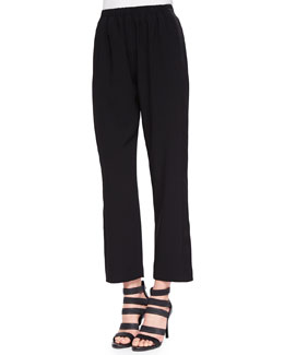 Satin-Stripe Pull-On Pants