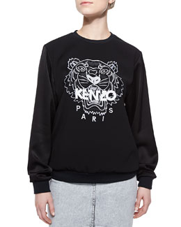Crepe-Sleeve Tiger Sweatshirt