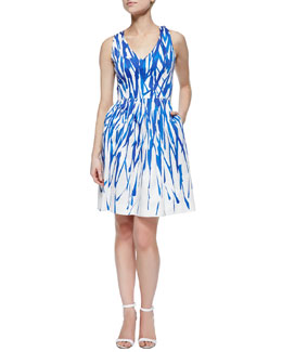 Isadora A-Line Brushstroke Dress, Cobalt/White