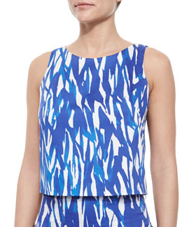 Sleeveless Brushstroke Crop Top