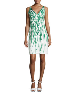 Liz Brushstroke Dress, Green/White