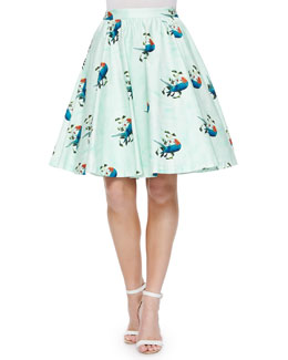 Earla Bird-Print Flare Skirt
