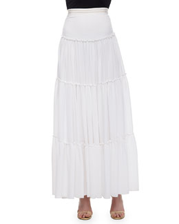 Isobel Ruffled Tier Skirt, White