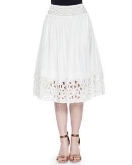 Joanna Embellished Midi Skirt, White