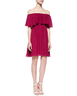 Dora Off-the-Shoulder Ruffle-Top Dress, Cranberry