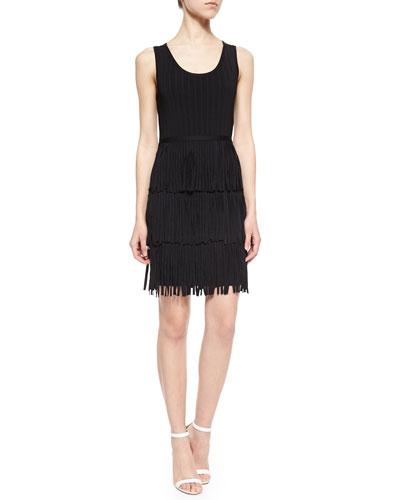 Sleeveless Tiered Fringe Dress