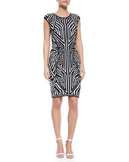 Architectural Jacquard Sheath Dress, Black/White