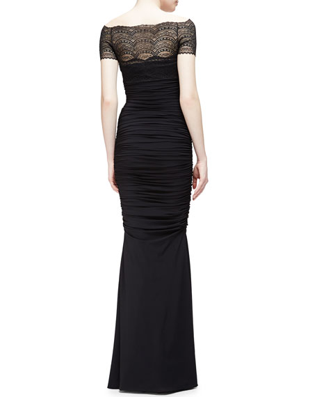 Nasir Lace-Bodice Mermaid Gown, Black
