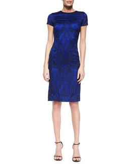 Short-Sleeve Embellished Satin Sheath Dress