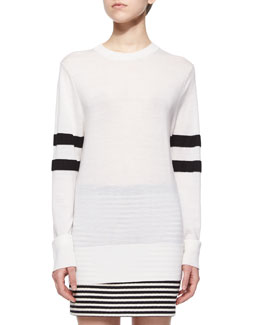 Lightweight Merino Wool Sweater W/ Striped Sleeves