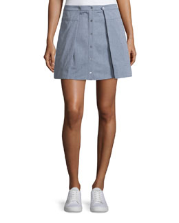 Oxford Cotton Pleated Mini Skirt