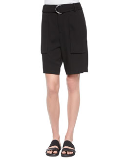 Revolve Belted Long Shorts, Black