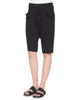 Drawstring Draped-Pocket Knee Shorts, Black
