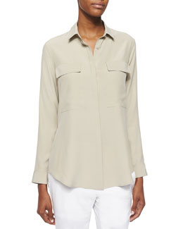 Mere Long-Sleeve Silk Blouse, Savannah