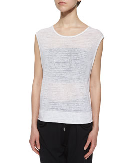 Vessel Burnout Sleeveless Top, Optic White