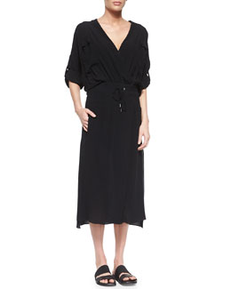 Gaze Crepe Drawstring-Waist Dress