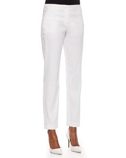 Jillian Straight-Leg Pants, White