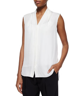 Ginny Sleeveless Blouse, White