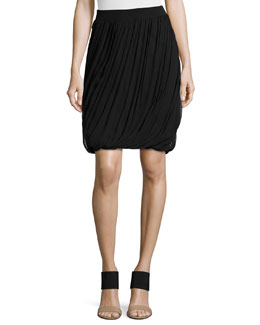 Remmi Asymmetric-Draped Skirt, Black