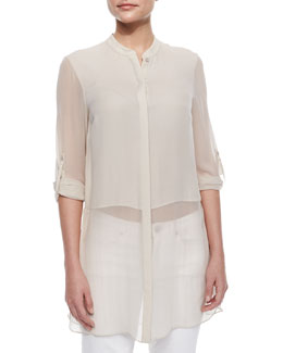 Viviann Silk Sheer Tunic Blouse, Tan