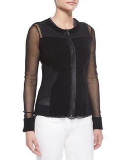 Maura Rib-Trim Sheer Sweater, Black