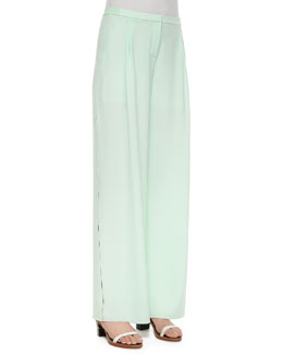 Alena Fluid Wide-Leg Crepe Pants, Mint