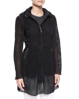 Leslie Hooded Eyelet Jacket, Black