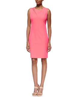 Axel Asymmetric-Inset Sheath Dress, Pink