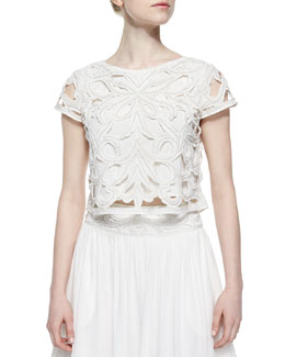 Abbi Beaded & Embroidered Crop Top, White
