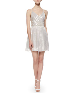 Livvy Lamé Open-Back Dress, Metallic Gray