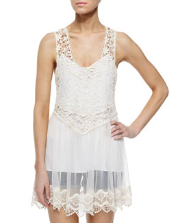 Jayla Sheer-Lace Racerback Top, Cream